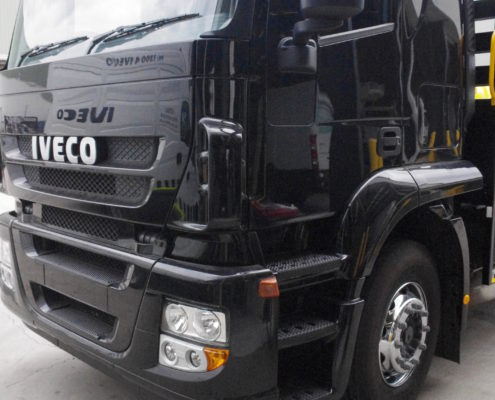 Chrome wheels on a Iveco truck