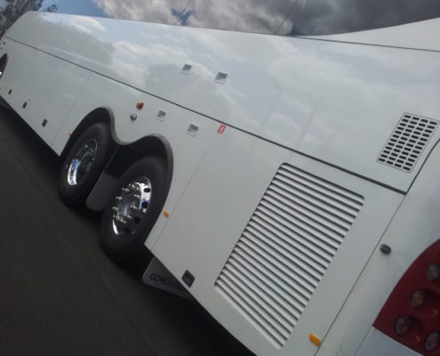 Chromed alloy wheels on a coach