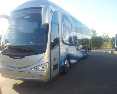Chrome alloy wheels on a coach