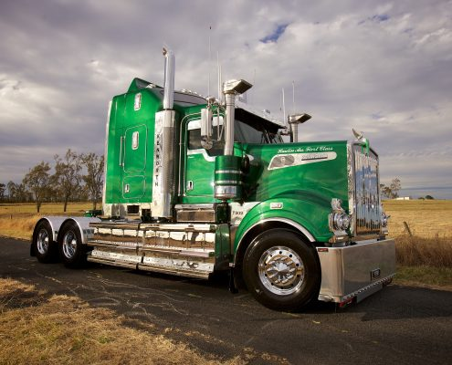 Chromed alloy wheels on a Kenworth truck